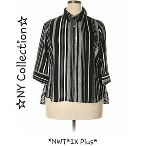 NWT*Plus NY COLLECTION 1X 3/4 Sleeve Stripe Blouse
